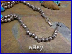 Navajo Sterling Sleeping Beauty Turquoise Squash Blossom Necklace Old Pawn Era