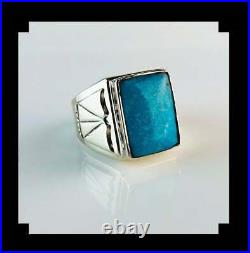 Navajo Sterling and Sleeping Beauty Turquoise Men's Ring Size 14