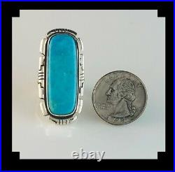 Navajo Sterling and Sleeping Beauty Turquoise Ring by Anthony Kee Size 8 1/4