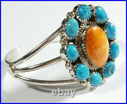 Navajo Theresa Jake 925 Sleeping Beauty Turquoise Spiny Oyster 5.25 Bracelet