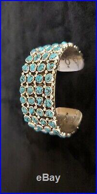 Navajo Turquoise Sterling Silver Cuff Bracelet Handmade Sleeping Beauty