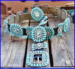 Navajo Vic Begay Sterling Sleeping Beauty Turquoise Cluster Concho Belt SIGNED
