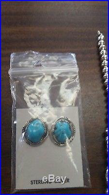 Navajo handmade sleeping beauty turquoise squash blossom necklace with Earring's