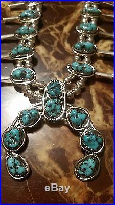 Navajo handmade sterling silver sleeping beauty turquoise squash blossom
