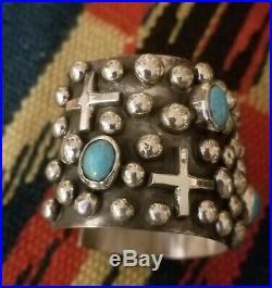 Navajo sleeping Beauty Turquoise Crosses & Dots Sterling Silver Cuff Bracelet