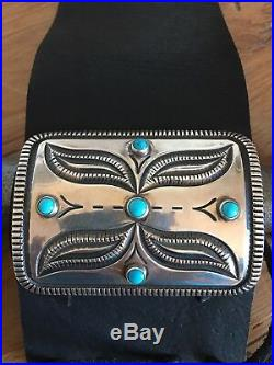 Navajo sterling etched/stamped bow guard with Sleeping Beauty by Harrison Jim