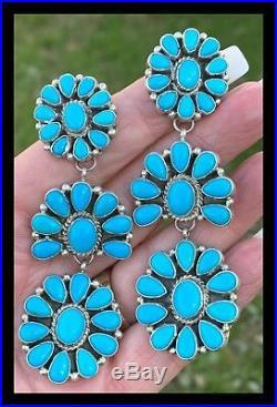 Navajonatural Sleeping Beauty Turquoisetriple Cluster Earrings Ss G. James
