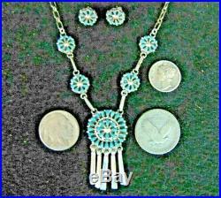 Necklace Earrings Yatsattie Zuni Needlepoint Sleeping Beauty Turquoise Sterling