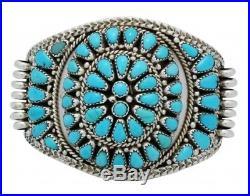 Nora Tsosie, Bracelet, Sleeping Beauty Turquoise, Cluster, Navajo Handmade, 6.75