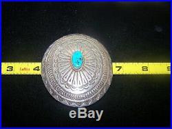 OLD Native Sterling Sleeping Beauty Turquoise Belt Buckle Navajo Leonard Maloney