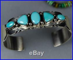 OLD Pawn Vintage Navajo Row SLEEPING BEAUTY TURQUOISE Bracelet