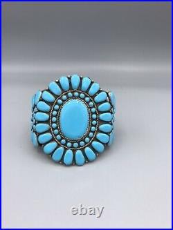OUTSTANDING Sleeping Beauty Turquoise Petit Point Bracelet Cuff NAVAJO