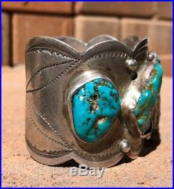 Old Fred Harvey Era Navajo Ingot Silver Sleeping Beauty Turquoise Cuff Bracelet