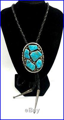 Old Native American Sterling Silver Sleeping Beauty Turquoise Cluster Bolo Tie