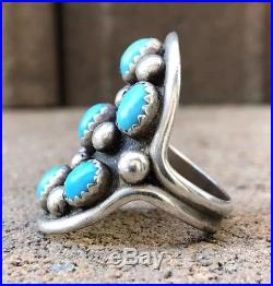 Old Navajo Native American Sleeping Beauty Turquoise Sterling Silver Shield Ring