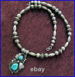 Old Navajo Signed Sterling Silver Bench Beads Turquoise Necklace Sleeping Beauty