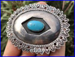 Old Navajo Sleeping Beauty Turquoise Stamped Sterling Silver Concho Belt Buckle