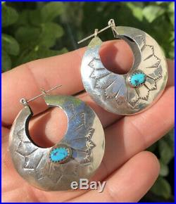 Old Navajo Sleeping Beauty Turquoise & Stamped Sterling Silver Hoop Earrings