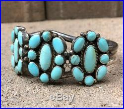 Old Navajo Sterling Silver Petit Point Sleeping Beauty Turquoise Cuff Bracelet