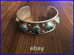 Old Pawn Heavy Sterling Silver Sleeping Beauty Turquoise Cuff Bracelet