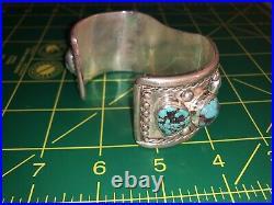 Old Pawn Heavy Sterling Silver Sleeping Beauty Turquoise Watch Cuff Bracelet