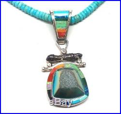 Old Pawn Navajo Handmade Natural Sleeping Beauty Turquoise & Druzy Necklace