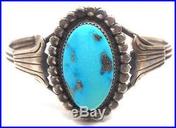 Old Pawn Navajo Handmade Sterling Silver Sleeping Beauty Turquoise Bracelet