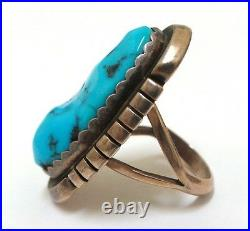 Old Pawn Navajo Handmade Sterling Silver Sleeping Beauty Turquoise Ring Size 6.7