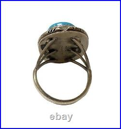 Old Pawn Navajo Handmade Sterling Silver Sleeping Beauty Turquoise Ring Size 8