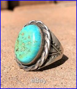 Old Pawn Navajo Native Sleeping Beauty Turquoise & Sterling Silver Men's Ring
