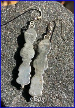 Old Pawn Navajo Sleeping Beauty Turquoise Sterling Silver Long Dangle Earrings