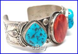 Old Pawn Navajo St Silver Sleeping Beauty Turquoise & Spiny Oyster Bracelet -LS