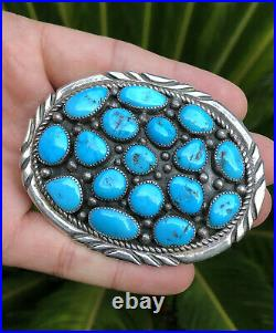 Old Pawn Navajo Stamped Sterling Silver Sleeping Beauty Turquoise Belt Buckle