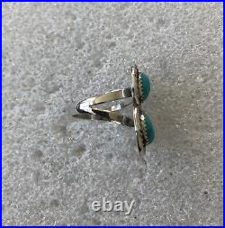 Old Pawn Navajo Sterling Silver Sleeping Beauty Blue Turquoise Ring Horseshoe 9