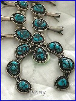 Old Pawn Navajo Sterling Sleeping Beauty Turquoise Squash Blossom Necklace
