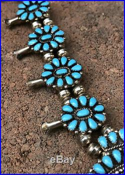 Old Pawn Petit Point Sleeping Beauty Turquoise Sterling Squash Blossom Necklace