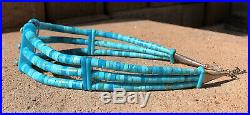 Old Pawn Santo Domingo Natural Sleeping Beauty Turquoise Heishi Choker Necklace