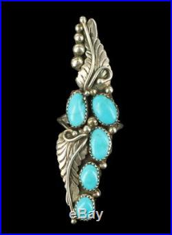 Old Pawn Sterling Sleeping Beauty Turquoise Navajo Zuni SW Leaves Ring 8.25