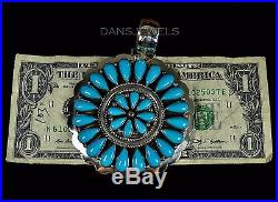Old Pawn VTG HUGE Sleeping Beauty TURQUOISE Old Navajo Sterling Pendant Enhancer