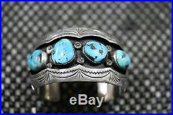 Old Pawn Vintage Navajo Cuff Bracelet 4 Sleeping Beauty Turquoise Stone, Sterling