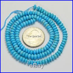 Old Stock 5mm Sleeping Beauty Turquoise Smooth Rondelles 18 inch strand