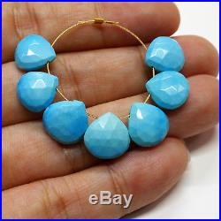 Old Stock Sleeping Beauty Turquoise Faceted Heart Briolette Beads (7)