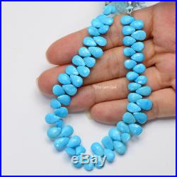 Old Stock Sleeping Beauty Turquoise Faceted Pear Briolette Beads 8 Strand