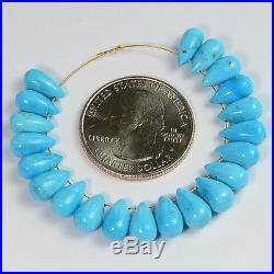 Old Stock Sleeping Beauty Turquoise Smooth Teardrop Beads (21)