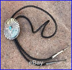 Old Zuni Indian Flush Mosaic Inlay Sleeping Beauty Turquoise & Coral Bolo Tie
