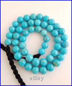 One 100% Natural Sleeping Beauty Turquoise Round Beads Necklace