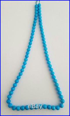 One Natural Sleeping Beauty Turquoise Round 7-7.5mm Beads Necklace