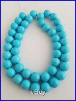 One Natural Sleeping Beauty Turquoise Round Beads Necklace 9.5mm