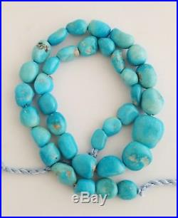 One Natural Sleeping Beauty Turquoise Tumbled Beads Necklace