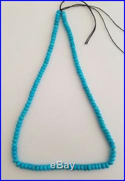 One Strand Natural Sleeping Beauty Turquoise Rondelle Beads Necklace 5.3mm